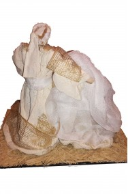 Natività, Sacra Famiglia:Maria, Giuseppe e Gesù Bambino 21x15x17cm