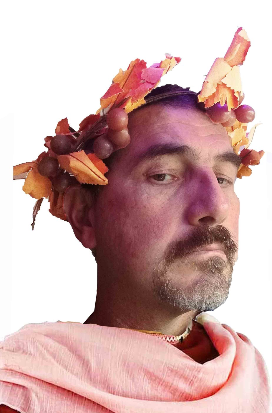Corona di uva del dio Bacco con foglie di pampini