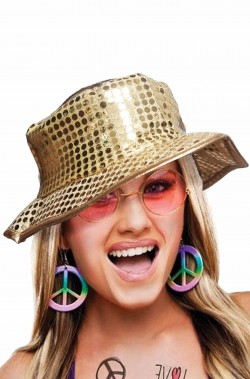 Cappello paillettes oro floscio anni 70 disco