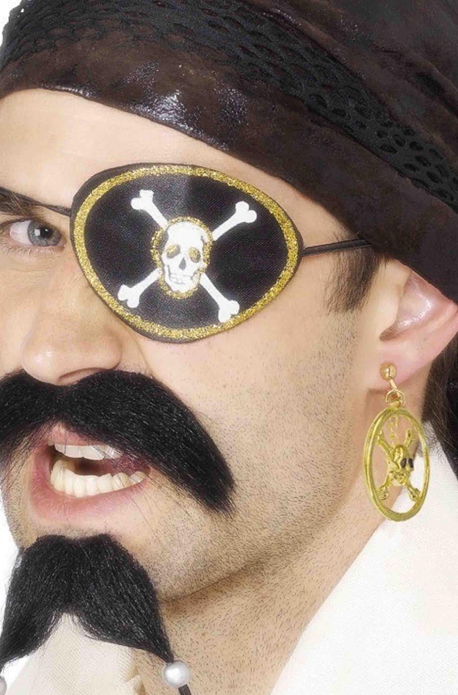 Benda Pirata per l'occhio in stoffa ed orecchino