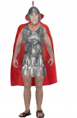 Vestito da antico soldato romano con armatura in lattice e mantello
