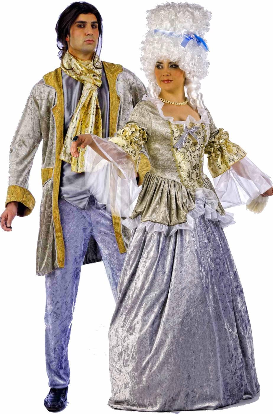 d104e6b6b606 Coppia di vestiti di carnevale Barocco rococò 700 uomo e donna dorati