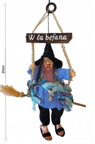 Befana decorativa da appendere W La Befana 37cm blu