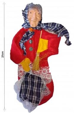 Befana decorativa da riempire con dolcetti 27cm rossa