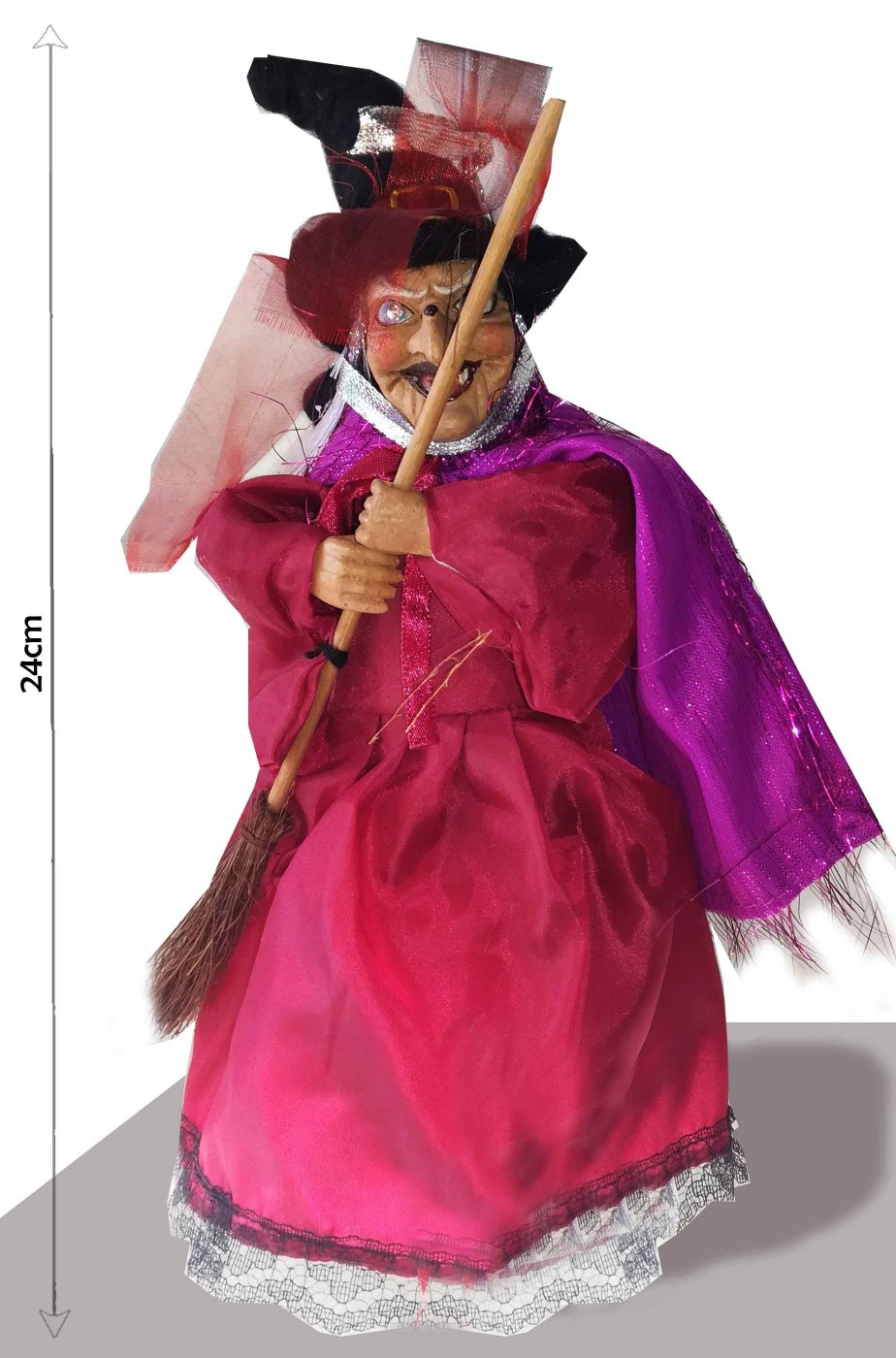 Befana decorativa Strega rossa porpora con scopa 23cm rossa