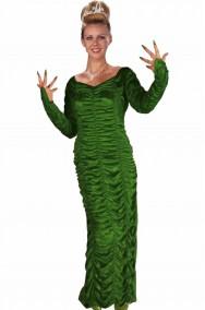 Abito lungo donna dama della sera verde in ciniglia