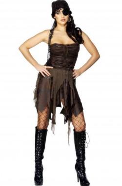 Costume donna piratessa selvaggia sexy adulta marrone