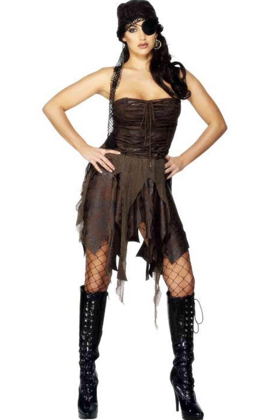 Costume donna piratessa selvaggia sexy adulta marrone 865c97f02bd