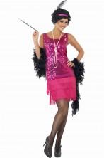 Costume Adulta Flapper Anni 20, Rosa caldo