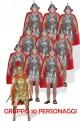 Gruppo di vestiti da soldati antichi romani con centurione armature in lattice