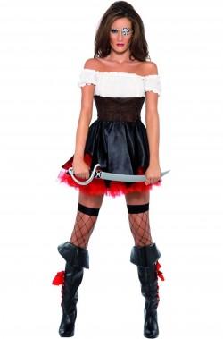 Costume donna piratessa adulta bianca e nera