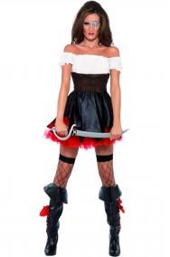 Vestito di carnevale donna piratessa adulta bianca e nera