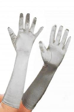Guanti grigi argentati da donna lunghi cm 40