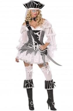 Costume donna piratessa corsara adulta bijoux bianca e nera COMPLETA