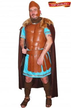 Vestito da antico soldato romano teatrale con armatura in vero cuoio