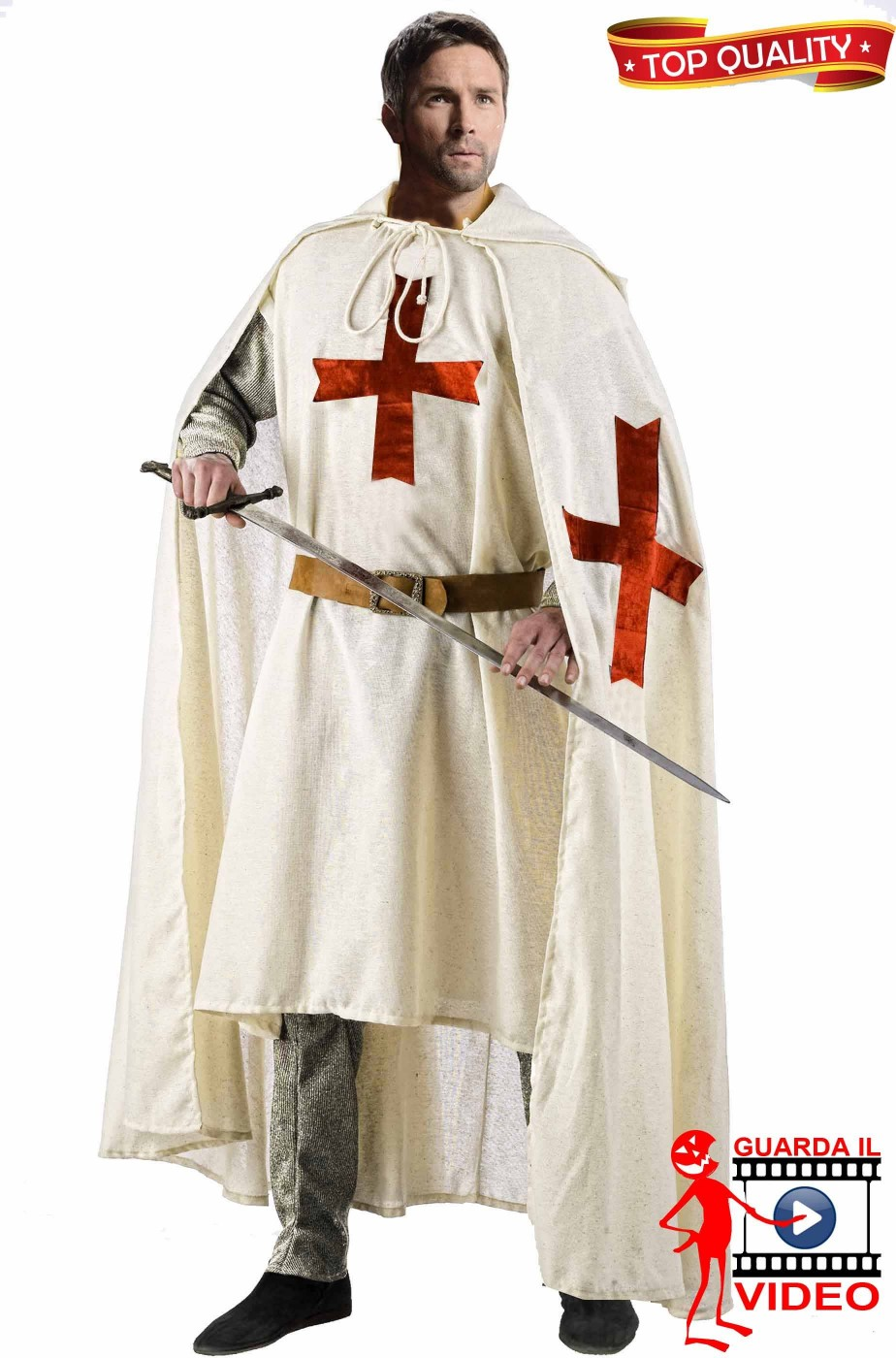 Da Uomo Rosso Oro MEDIEVALE St Georges Day CROCIATO CAVALIERE Costume Vestito