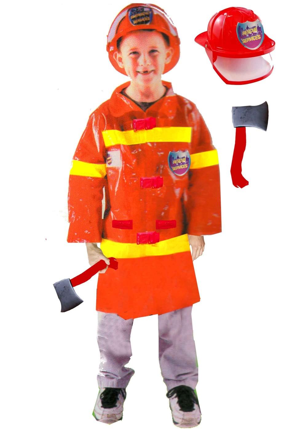 Completo vestito di carnevale da pompiere bambino con elmetto e ascia 269d43c627ce