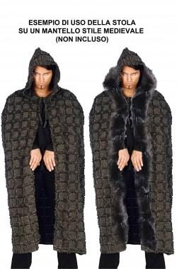 Stola lunga di pelliccia sintetica nera tre metri per vestiti medievali