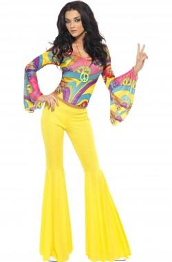 Costume donna anni 70 con pantaloni gialli