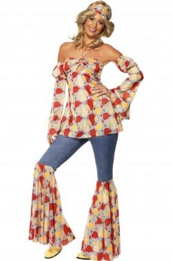 Costume donna anni 70 a pois con pantalone jeans a zampa