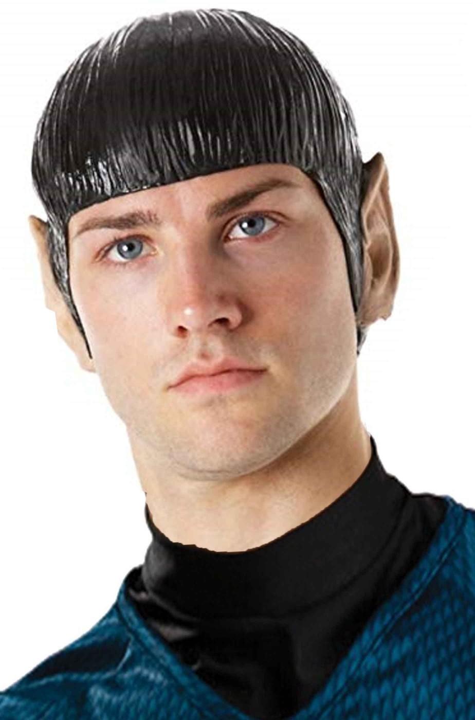 Parrucca calotta in vinile uomo corta nera Spock