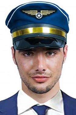 Cappello pilota blu adulto