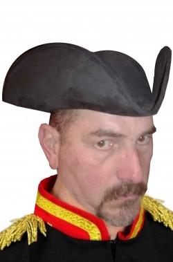 Cappello da pirata o cavaliere del 700 a tricorno nero