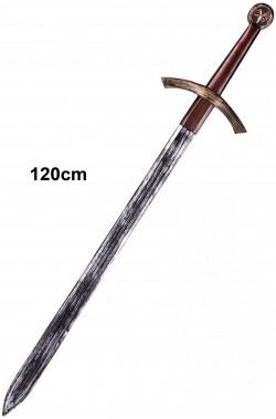 Spada medievale crociato spadone a due mani giocattolo 120cm