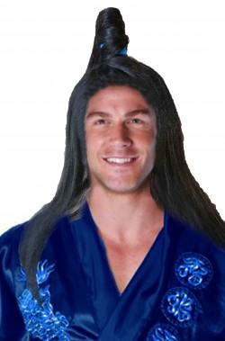 Parrucca samurai giapponese con nodo acconciato con nastro azzurro