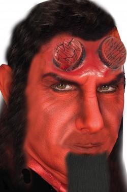 Corna da diavolo troncate come Hellboy mascherina in lattice