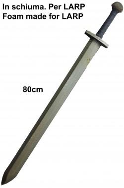 Spada medievale da combattimento LARP in schiuma 80cm