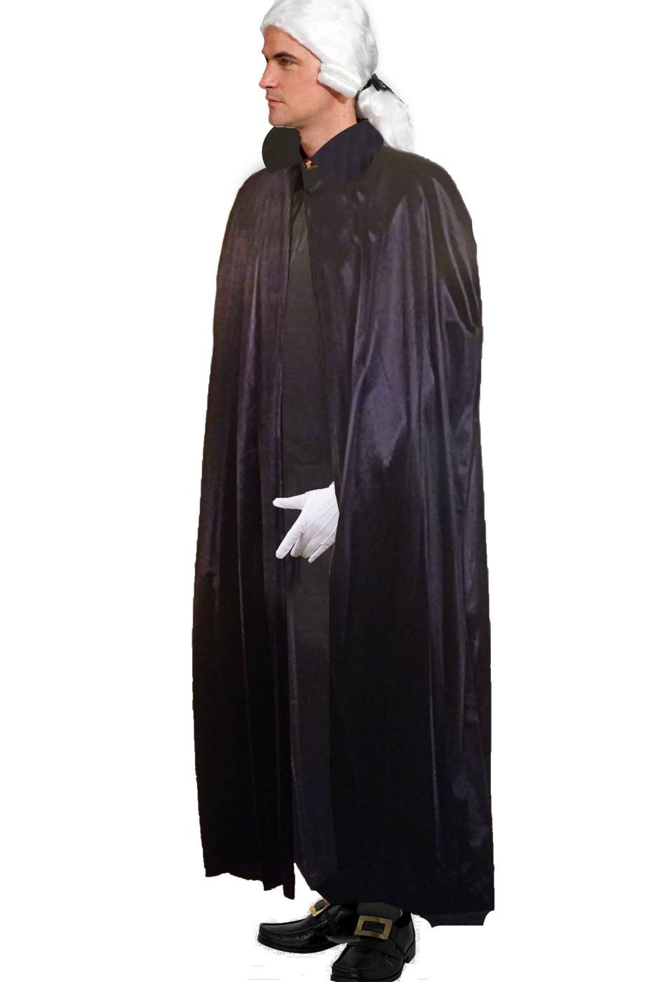 Mantello nero lucido da adulto con collare