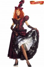 Vestito da Can Can Moulin Rouge sartoriale adulto in satin bordeaux
