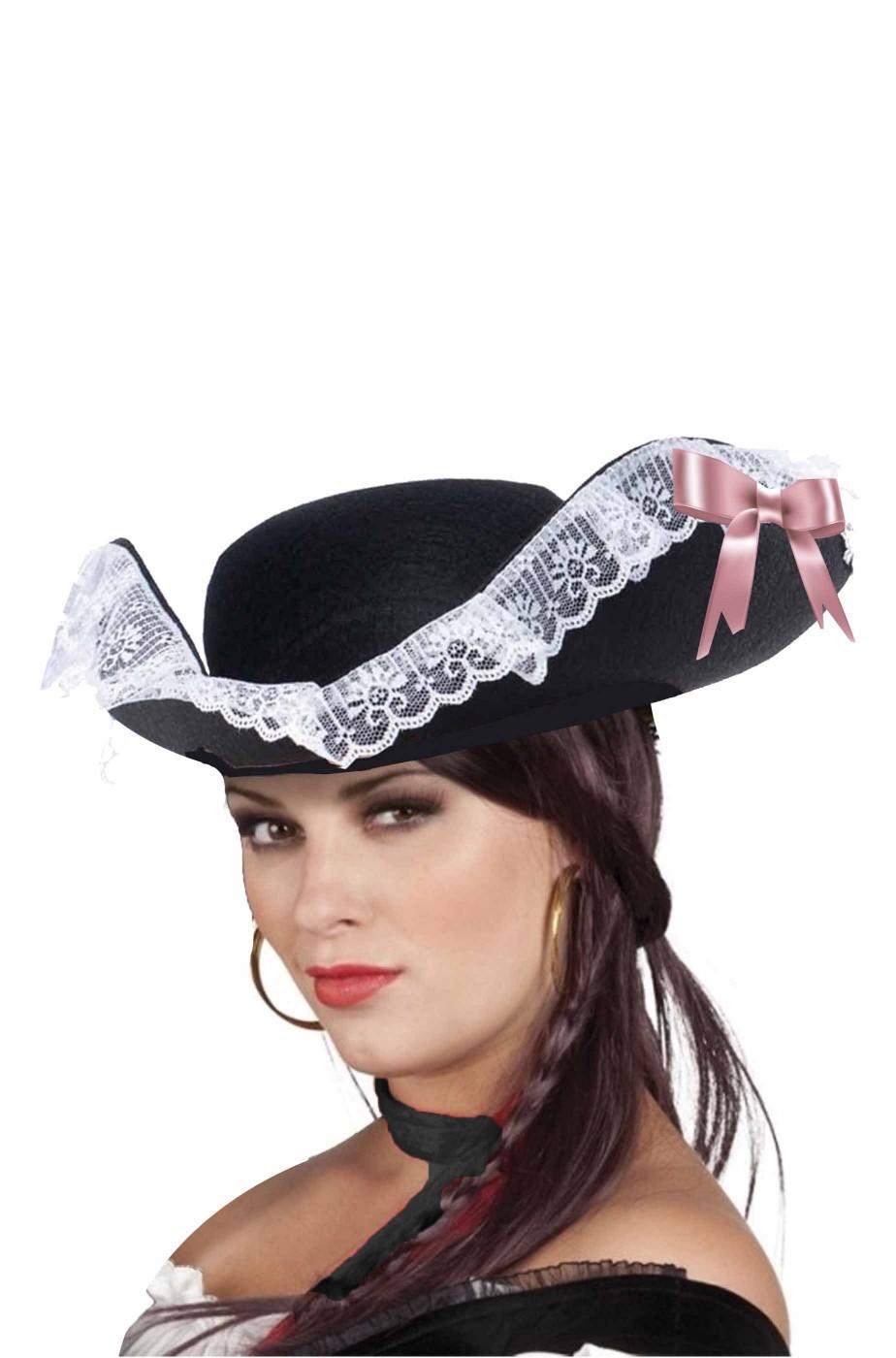 Cappello da Pirata donna nero con fiocco rosa e pizzo bianco