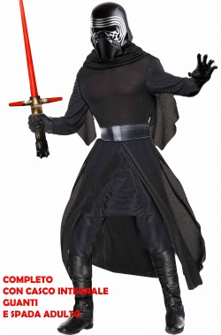 Vestito di Kylo Ren Star Wars The Dark Side adulto con casco, guanti e spada