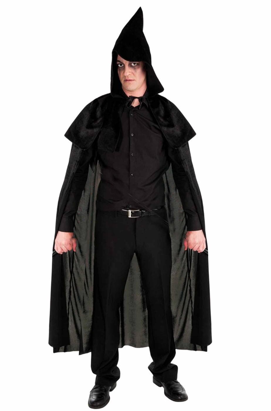 Mantello nero con pellegrina e cappuccio a punta
