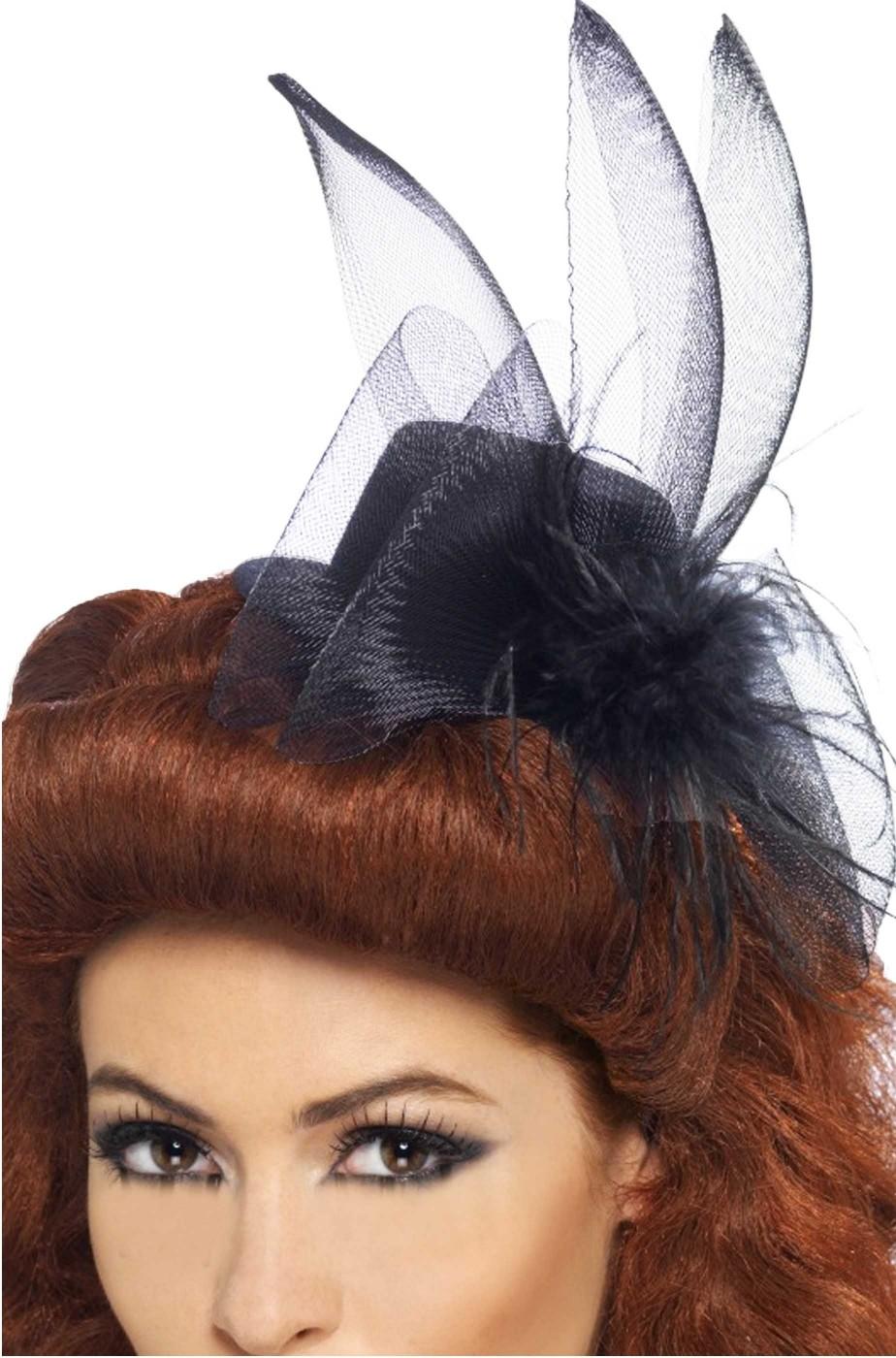 Cappello Burlesque Nero a cappellino con veletta
