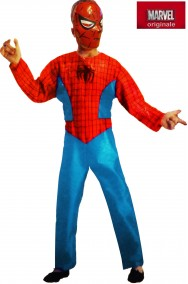 Costume carnevale Bambino Spiderman originale lucido maschera rigida