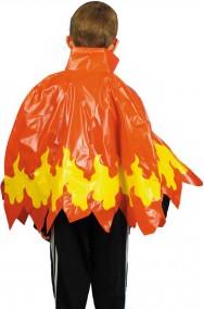 Mantello rosso in plastica con fiamme bambino 50 cm