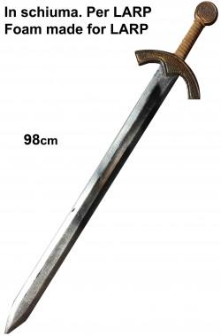 Spada medievale lunga in schiuma con anima in fibra di vetro da crociato