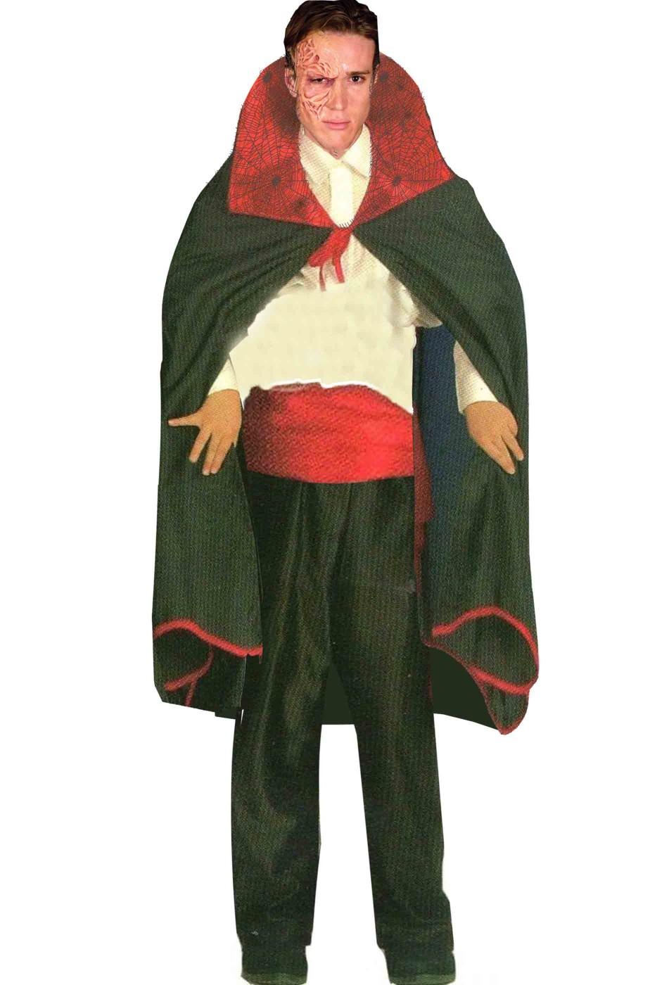 Mantello Nero Vampiro Adulto con collare rosso
