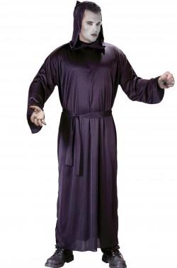 Costume tunica nera della morte con cappuccio la grande mietitrice