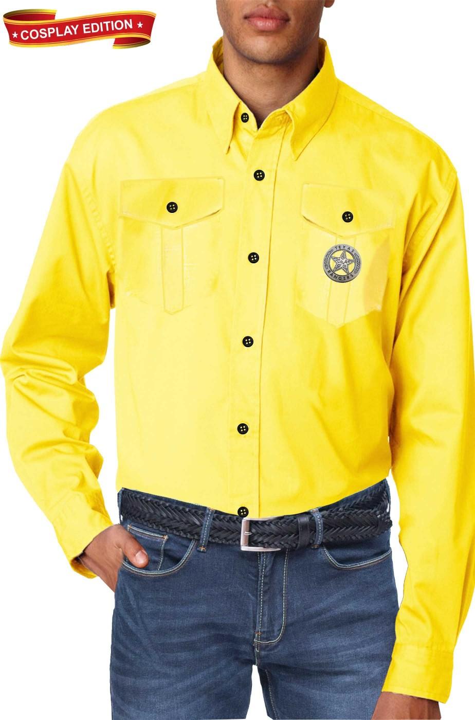 Camicia gialla replica Tex Willer con spilla Texas Rangers