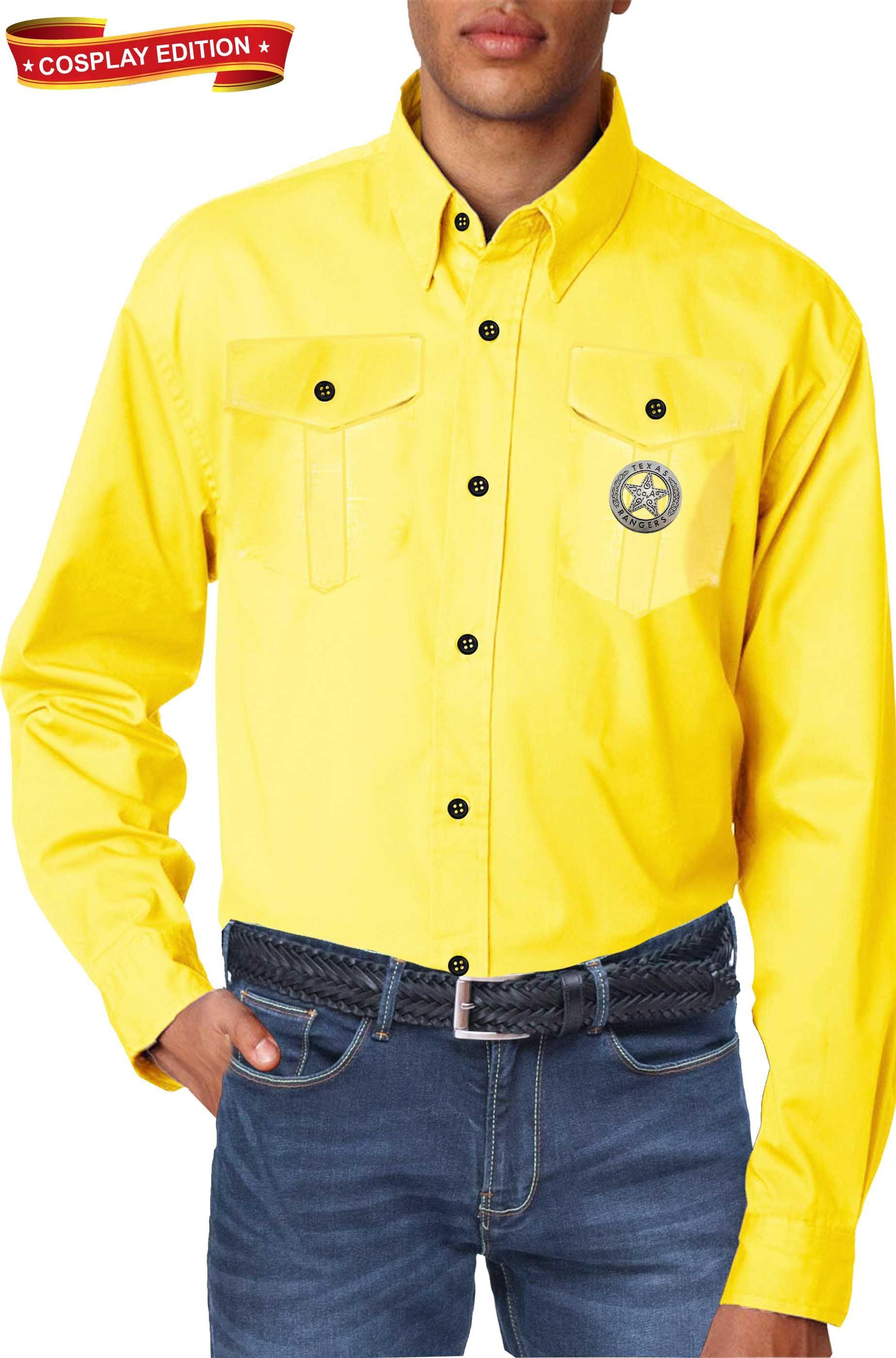 free shipping 73f64 ddc02 Camicia gialla replica Tex Willer con spilla Texas Rangers