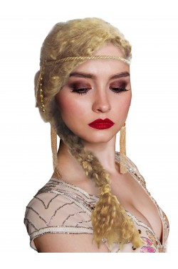 Parrucca bionda lunga medievale con treccia