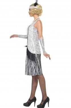 Vestito donna Charleston Flapper Anni 20 argento