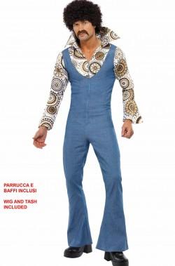 Vestito uomo anni 70 con salopette jeans parrucca e baffi
