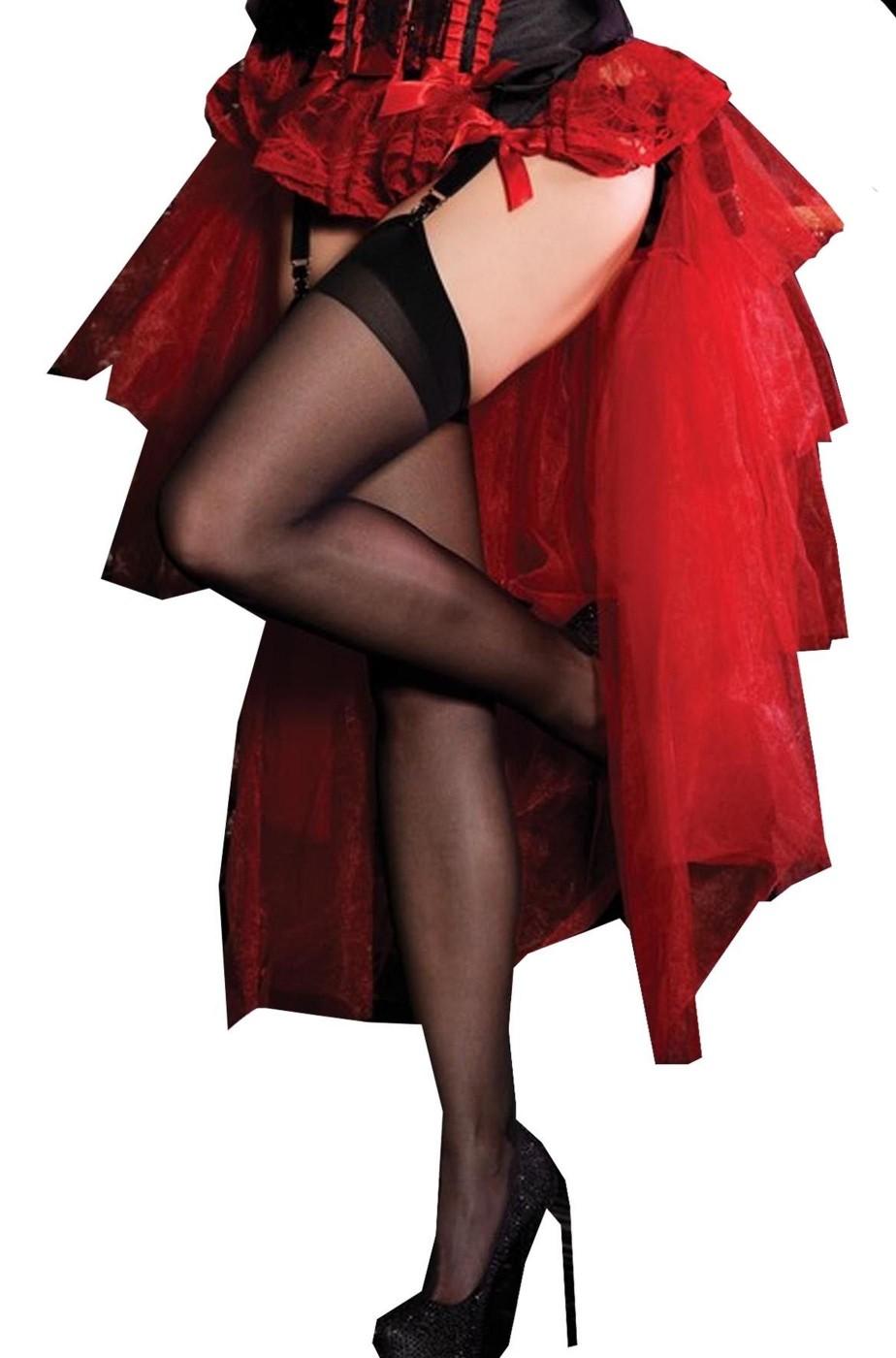 Gonna lunga a balze burlesque rossa adulta corta davanti