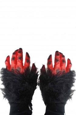 Guanti mani da mostro demone rosse con pelo