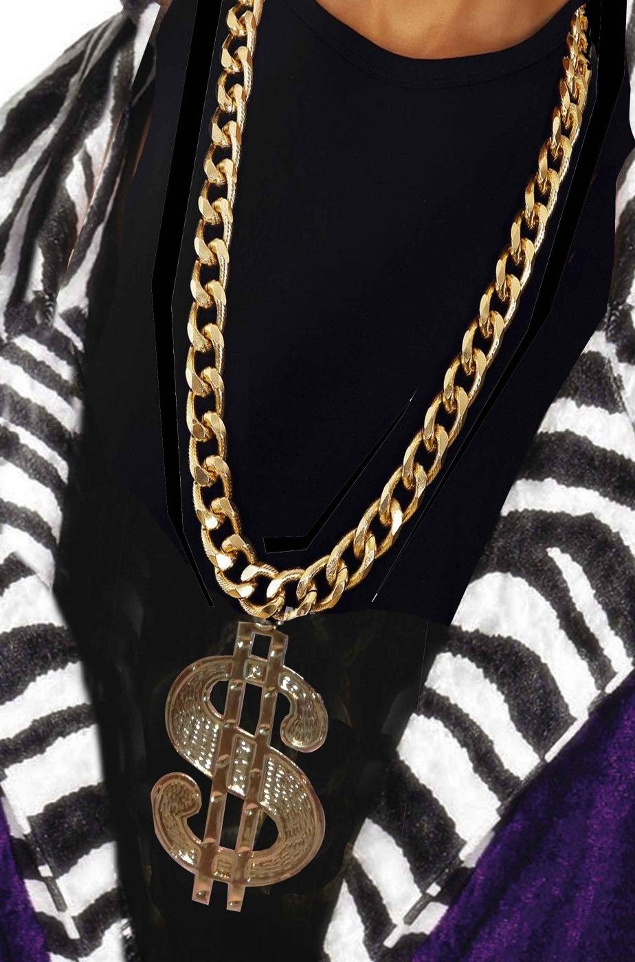 Collana a catena con medaglione da pappone o rapper con grande dollaro